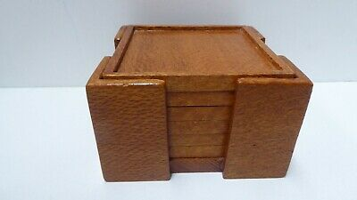Antique Arts And Crafts Art Deco Silky Oak Cocktail Bar Coasters In Stand
