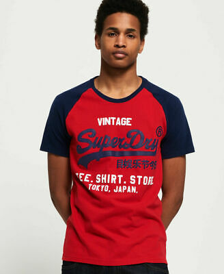 New Mens Superdry Shirt Shop Duo Raglan T-Shirt Classic Red