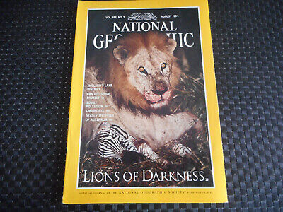 National Geographic Lions Of Darkness Vol 186 / N° 2 / August 1994 ( En Anglais