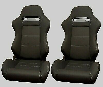 Bucket Reclining Recliner Tilting Seats Black Daytona Style Base Mounted