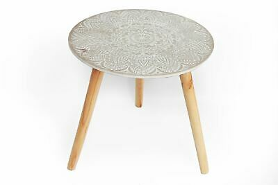 Embossed Top Grey Round Wooden Side Table with Tripod Legs 40cm