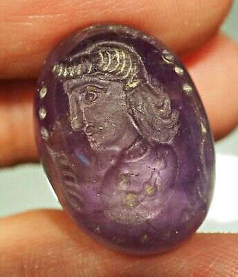 Ancient Amethyst Intaglio Handsome Greek Man protection Bead Stamp Pendant