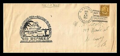 Dr Jim Stamps Us Frigate Constitution Naval Event Legal Size Cover San Diego