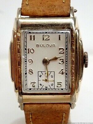 Art Deco 1930s Vintage Bulova Manual Mens Watch 15j 10AN Duo Dial Gold Tone Case