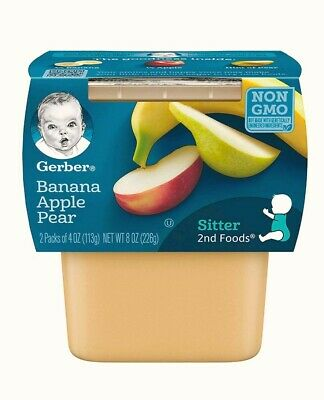 Gerber Purees 2nd Foods Apples,Bananas & Pears Baby Food Tubs Pack of 8