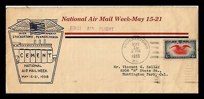 Dr Jim Stamps Us Stockertown Pennsylvania First Flight Air Mail Legal Size Cover