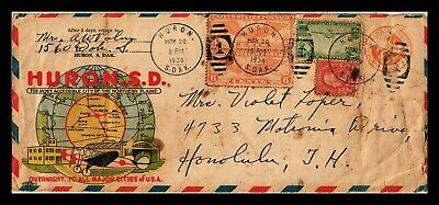 Dr Jim Stamps Us Huron Multi Franked Multi Color Air Mail Legal Size Cover 1938