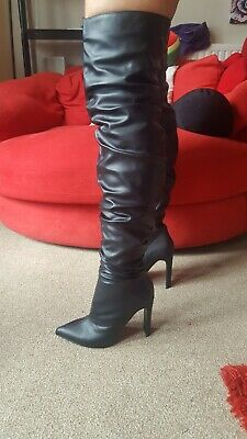 Black Designer Lost Ink thigh high heel boots new in box size 5 fetish