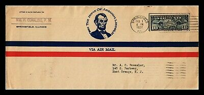 Dr Jim Stamps Us Abe Lincoln Springfield Ili Air Mail Legal Size Cover Backstamp