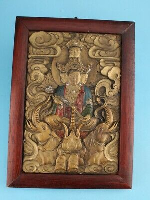 Wood Copper Hand Cast Tibetan Buddha Statue Plate Pendant Spiritual Decoration