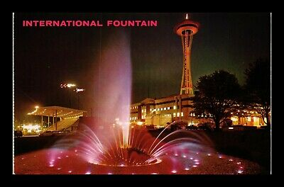 Dr Jim Stamps Us Night View Fountain Space Needle Seattle Worlds Fair Postcard
