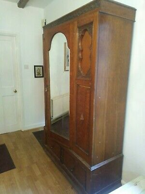 Vintage Antique  Old Oak Wooden Mirror Wardrobe.
