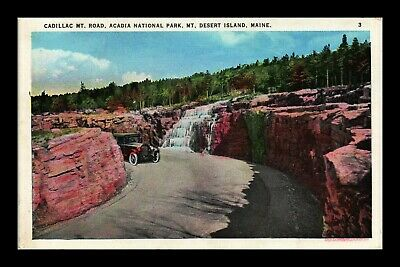 Dr Jim Stamps Us Cadillac Mountain Road Acadia National Park Old Car Postcard