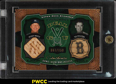 2004 Upper Deck Etchings Mickey Mantle Ted Williams BAT PATCH /150 #DE-MW (PWCC)