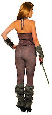 Womens Viking Warrior Faux Leather Leggings Medieval Halloween Costume Accessory
