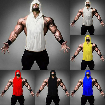 UK Mens Gym Hoodie Muscle T-Shirt Sleeveless Tank Top Hooded Bodybuilding Vest