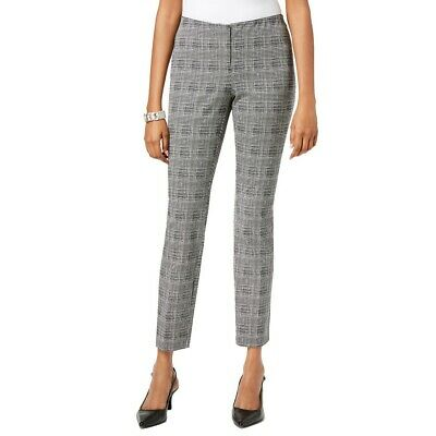 ALFANI NEW Women's Gwen Plaid Comfort Waist Skinny Pants TEDO