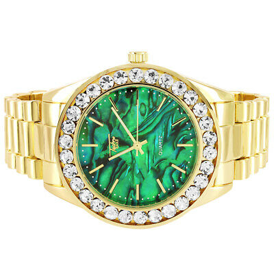 Men's Hip Hop 14k Gold Plated Techno Pave Solitaire Bezel Green Dial Watch