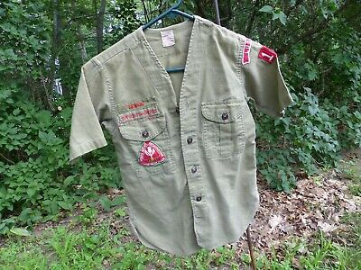 Used Vintage Boy Scouts of America Uniform Shirt S/S No Collar Pioneer Valley MA