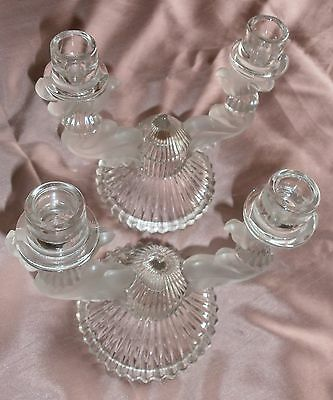 "2 Candlesticks Crystal Moulded Thick Vintage "" Czechoslovakia "" for 4 Glow"