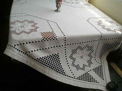 Stunning Large Vintage French Linen Tablecloth  Gorgeous Openwork And Embroidery