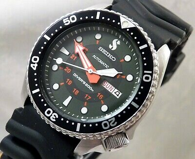 Seiko ScubaPro Military Green 2-Tone Day Date Divers Automatic Watch Custom 6309
