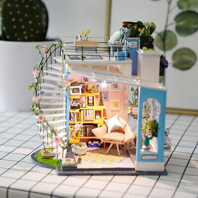 Rolife Modern Dollhouse 1:24 Wooden Miniature Loft with LED Light Stairs Decor