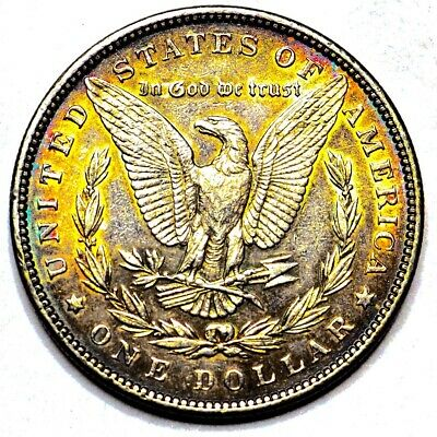 1898 Rainbow Toned Morgan Silver Dollar 90% Silver $1 Coin #O81