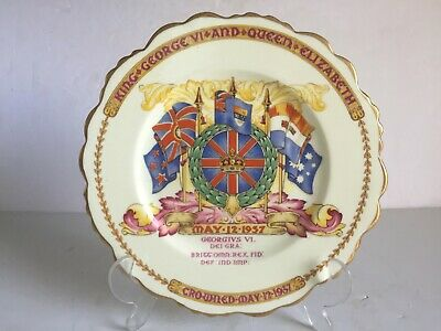 1937 Paragon China KING GEORGE VI Queen Elizabeth Coronation PLATE 8.5""