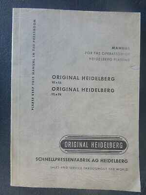 vintage Original Heidelberg platen spare parts manual 10 x 15 English German