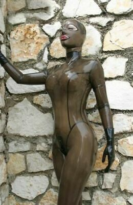 Latex Catsuit Rubber Cat Eyes Unisex Jumpsuit Transparent Sexy Customized 0.4mm