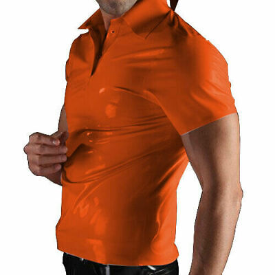 Latex Catsuit Rubber Gummi Male Clasisc Polo Tops Casual Pull On Customized .4mm