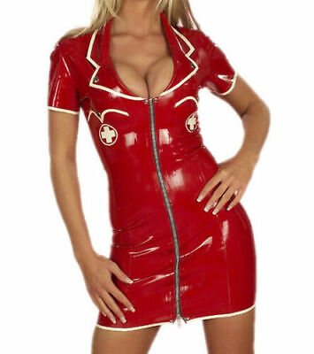 Latex Catsuit Rubber Gummi Red Female Sexy Deep Neck Dress Skirt Customized .4mm