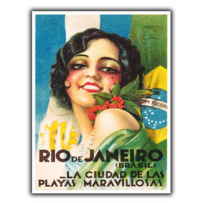 Brazil Rio METAL SIGN PLAQUE Vintage Retro Travel Holiday Advert poster print