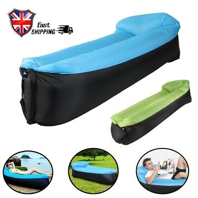Sleeping Hangout Couch Pillow Inflatable Air Lounger Bed Lazy Sofa Beach Bag UK
