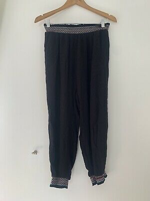 Girls River Island Trousers 12 Years Black Cotton Blend Casual <JS772
