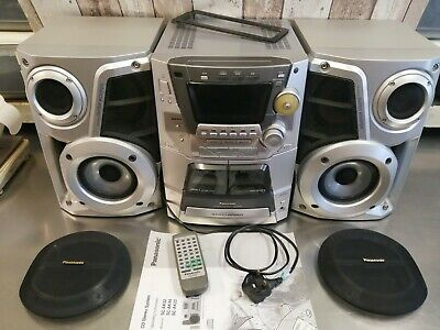 Panasonic 5 CD Changer Stereo System, Dual Cassette Deck SA-AK44 Tested