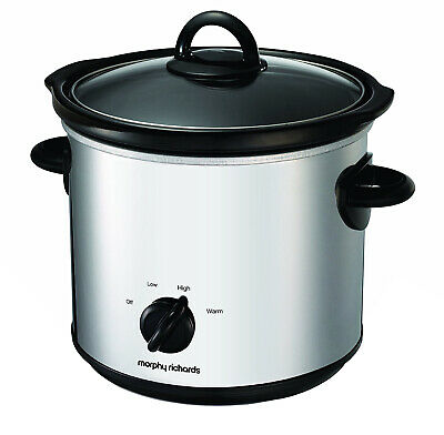 Morphy Richards 48696 Polished Stainless Steel Round 3.5 Litre Slow Cooker -170W
