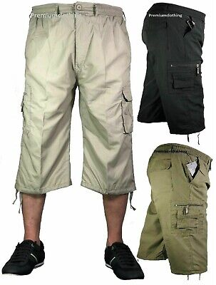 Mens 3/4 Long Length Shorts Elasticated Waist Cargo Combat Three Quarter Pants