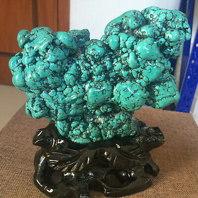 3.49LB Natural turquoise optimized strange stone antique furnis +stand JAQ777