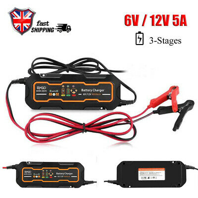 5A Car 3 Step Trickle RV Motorcycle Automatic Smart Battery Charger 12V