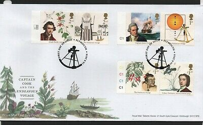 GB 2018 FDC Captain Cook Endeavour voyage Plymouth postmark stamps