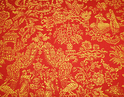 Vintage French Small Scale Figural Renaissance Jacquard Fabric ~ red yellow