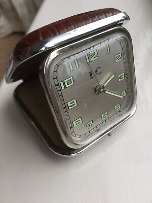 Working VINTAGE LC QUARTZ Battery Travel ALARM CLOCK Glow Luminous Numbers Hands