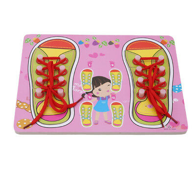 Wooden Lacing Shoe Learn to Tie Laces Threading Kids Educational Skill Toy WO