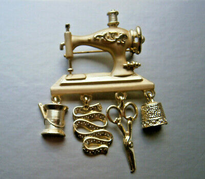 Vintage DaneCraft Sewing Machine Brooch Pin Gold Tone Metal
