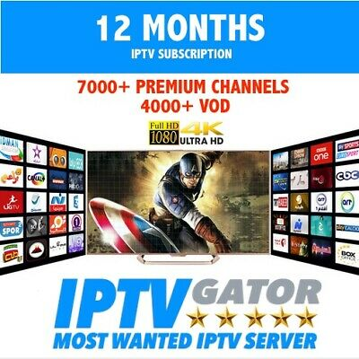 12 MONTHs IPTV Subscription FULL HD + VOD : Smart IPTV,MAG,IOS, Android …