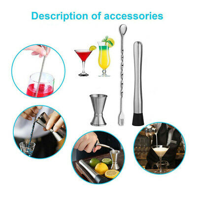 3PCS Muddler Bar Tools Cocktail Shakers Set With Muddler Cocktail Spoon Jigger