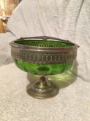 Vintage Silver Plated, Art Deco Green Glass Bowl