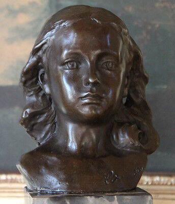 Shower Mother's  Day Gift Young Girl Daughter Portrait Bust Bronze Marble Statue